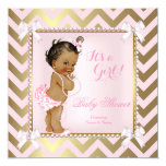 Baby Shower Girl Pink Pearl Gold Chevron Ethnic Invitation