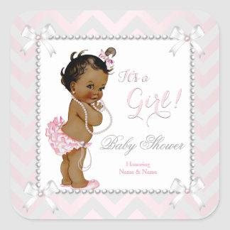 Baby Shower Girl Pink Pearl Gray White Ethnic Square Sticker