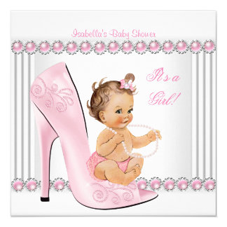 Baby Shower Girl Pink Pearl High Heel Shoes Card