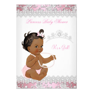 Baby Shower Girl Pink Pearl Silver Rose Ethnic Card