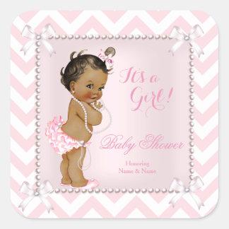 Baby Shower Girl Pink Pearl White Chevron Ethnic Square Sticker