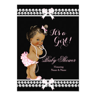 Baby Shower Girl Pink Pearls Black Ethnic 5x7 Paper Invitation Card
