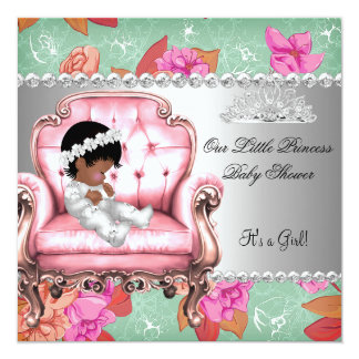 """Baby Shower Girl Pink Pink Floral Chair 5.25"""" Square Invitation Card"""