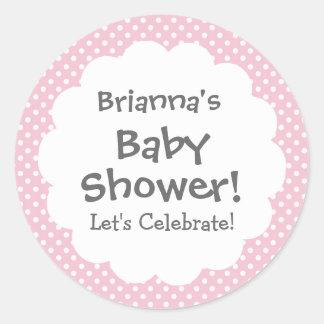 Baby Shower GIRL Pink Polka Dot Pattern V3 Classic Round Sticker