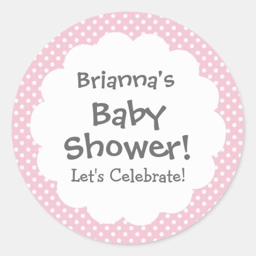 Baby Shower GIRL Pink Polka Dot Pattern V3 Sticker