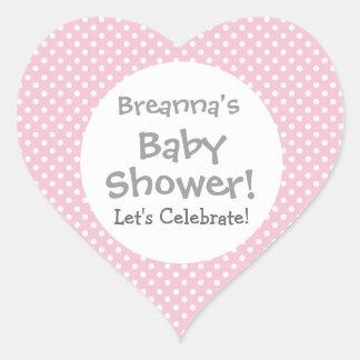 Baby Shower GIRL Pink Polka Dot Pattern V3a Heart Sticker