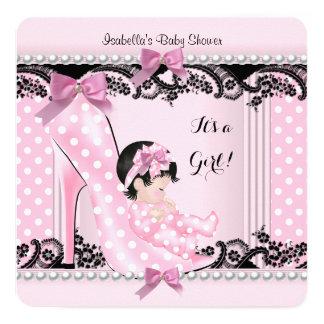 Baby Shower Girl Pink Polka Dots High Heel Shoe Card