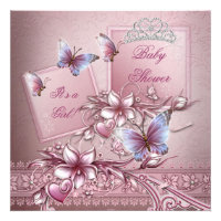 Baby Shower Girl Pink Princess Butterfly Custom Invites
