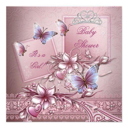Baby Shower Girl Pink Princess Butterfly Custom Invites