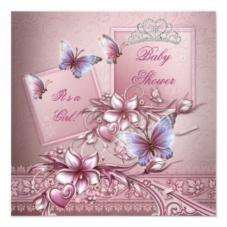 Baby Shower Girl Pink Princess Butterfly 5.25x5.25 Square Paper Invitation Card
