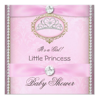 Baby Shower Girl Pink Princess Tiara Diamond 2 Personalized Announcements