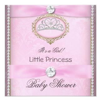 """Baby Shower Girl Pink Princess Tiara Diamond 2 5.25"""" Square Invitation Card"""