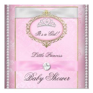 """Baby Shower Girl Pink Princess Tiara Diamond 5.25"""" Square Invitation Card"""