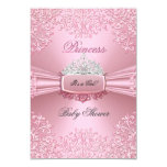 Baby Shower Girl Pink Princess Tiara lace 3.5x5 Paper Invitation Card