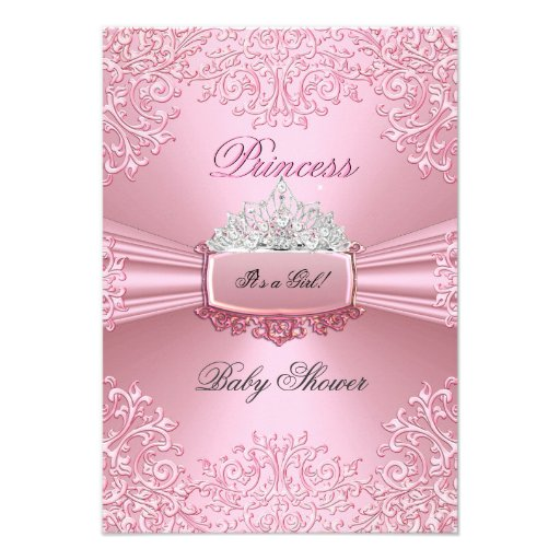 Baby Shower Girl Pink Princess Tiara lace Personalized Invite