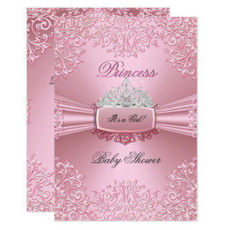 Baby Shower Girl Pink Princess Tiara lace SML Card