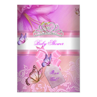 Baby Shower Girl Pink Purple Princess Butterfly 2 5x7 Paper Invitation Card
