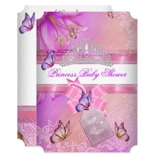 Baby Shower Girl Pink Purple Princess Butterfly 3 Card