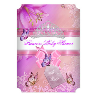 "Baby Shower Girl Pink Purple Princess Butterfly 3 5"" X 7"" Invitation Card"