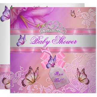 Baby Shower Girl Pink Purple Princess Butterfly Card