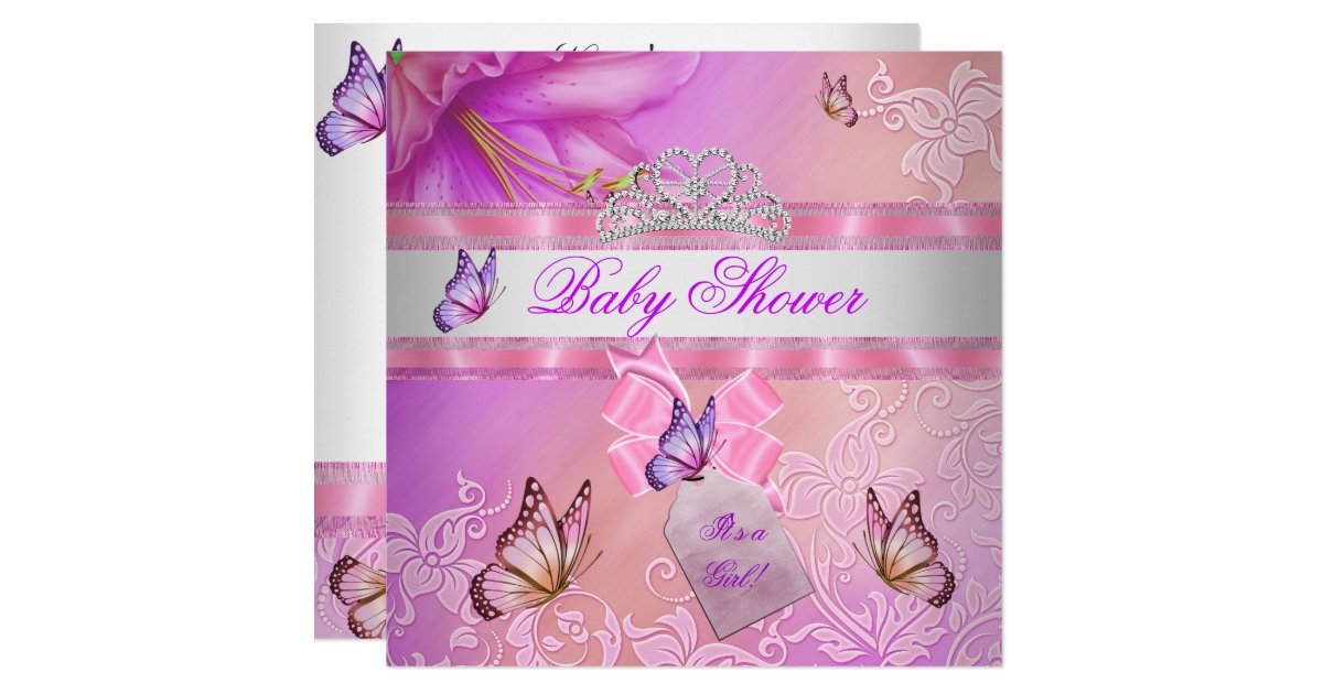 baby shower girl pink purple princess butterfly card zazzle