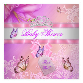 Baby Shower Girl Pink Purple Princess Butterfly 5.25x5.25 Square Paper Invitation Card