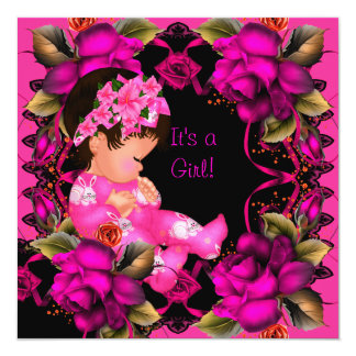 """Baby Shower Girl Pink Rose Flowers 2 5.25"""" Square Invitation Card"""