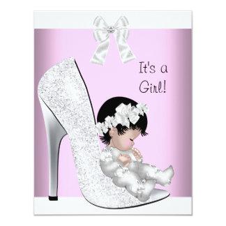 Baby Shower Girl Pink Silver White Glitter Shoe Card
