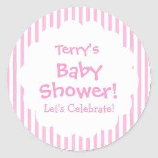 Baby Shower GIRL Pink Stripes V8 Classic Round Sticker