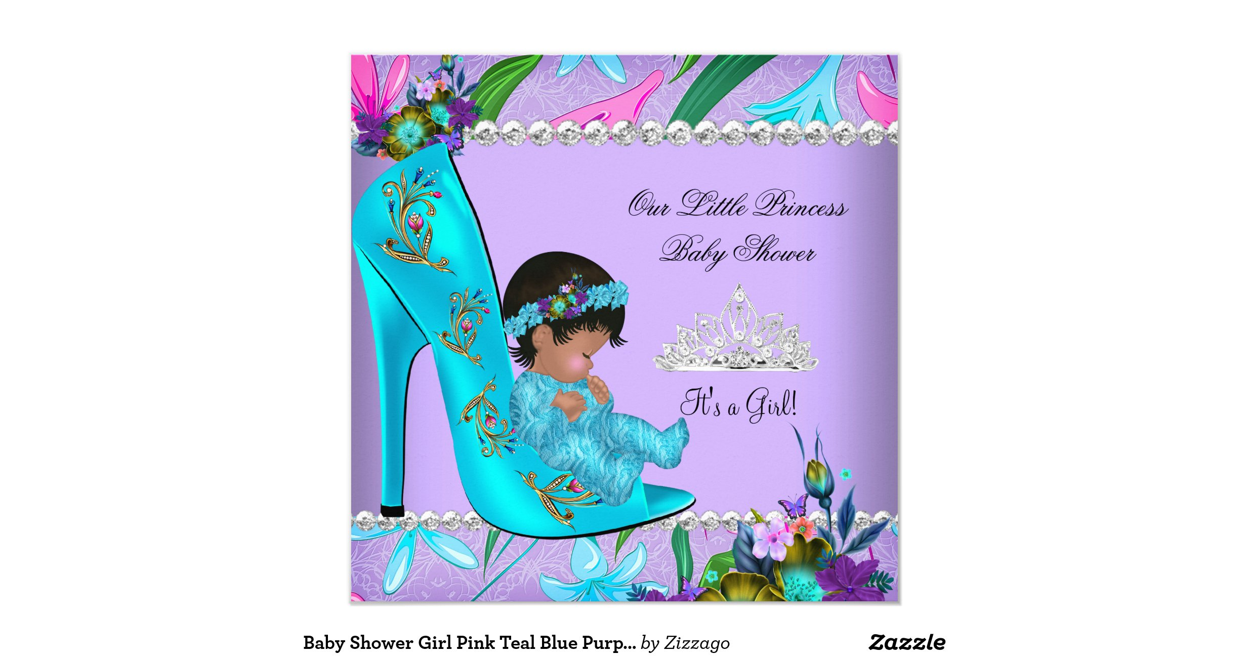 baby shower girl pink teal blue purple shoe invitation
