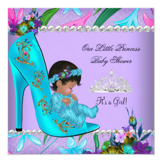 Baby Shower Girl Pink Teal Blue Purple Shoe 5.25x5.25 Square Paper Invitation Card