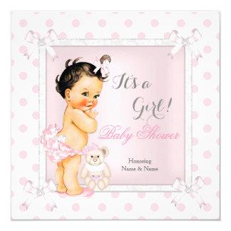 Baby Shower Girl Pink Toy Polka Dot Brunette Card