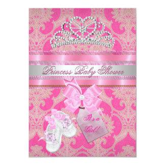 Baby Shower Girl Pink White Princess Tiara Booties 4.5x6.25 Paper Invitation Card