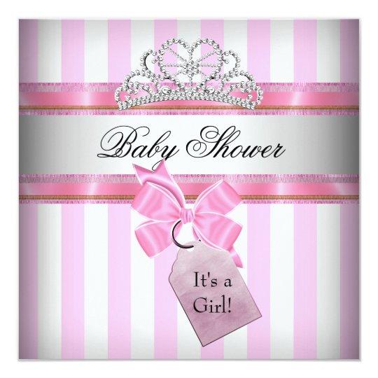 Baby Shower Girl Pink White Stripe Princess Card