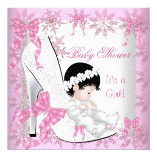 Baby Shower Girl Pretty Pink Snowflakes Shoe Invitation
