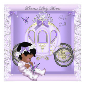 """Baby Shower Girl Princess Carriage Lavender 3 5.25"""" Square Invitation Card"""