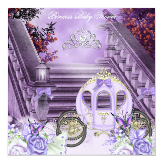 Baby Shower Girl Princess Carriage Lavender Custom Invites