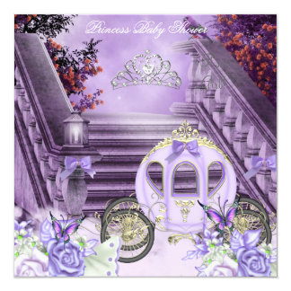"""Baby Shower Girl Princess Carriage Lavender 5.25"""" Square Invitation Card"""