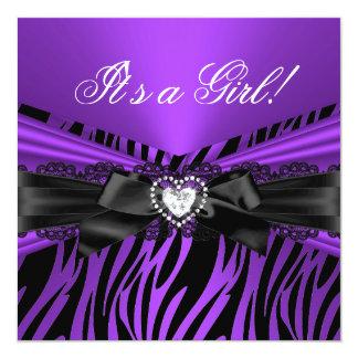 Baby Shower Girl Purple Black Lace Zebra Card