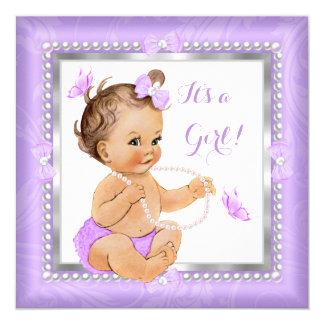 Baby Shower Girl Purple Pearl Butterfly Brunette Card