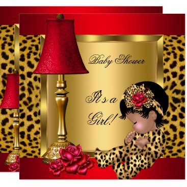 Toddler & Baby themed Baby Shower Girl Red Gold Roses Leopard AA Card