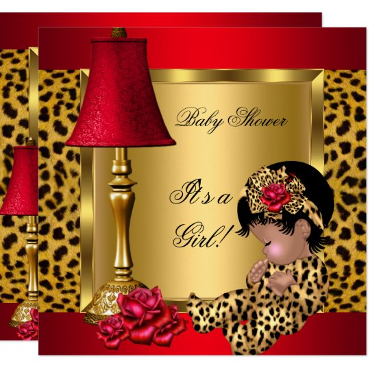 Baby Shower Girl Red Gold Roses Leopard AA Card