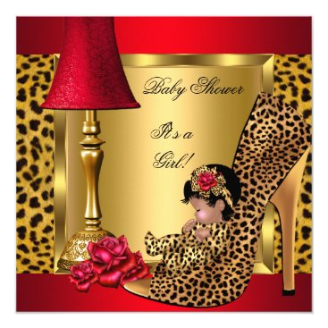 Toddler & Baby themed Baby Shower Girl Red Gold Roses Leopard Shoe AA Card
