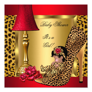 Baby Shower Girl Red Gold Roses Leopard Shoe AA 5.25x5.25 Square Paper Invitation Card