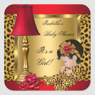 Baby Shower Girl Red Gold Roses Leopard Square Sticker