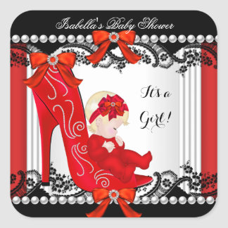 Baby Shower Girl Red High Heel Shoe Blonde Square Sticker