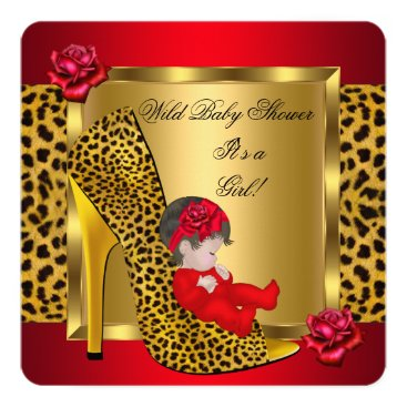 Toddler & Baby themed Baby Shower Girl Red Roses Gold Wild Leopard 3 Card