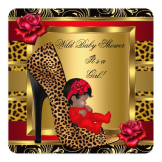 Baby Shower Girl Red Roses Gold Wild Leopard 3 Card