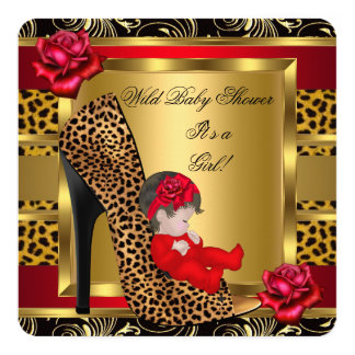 Baby Shower Girl Red Roses Gold Wild Leopard 3a Card
