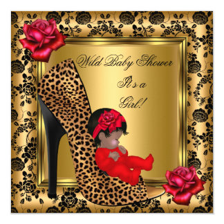 Baby Shower Girl Red Roses Gold Wild Leopard 4 Invitation